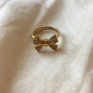 J. Crew gold sparkle bow ring size 8