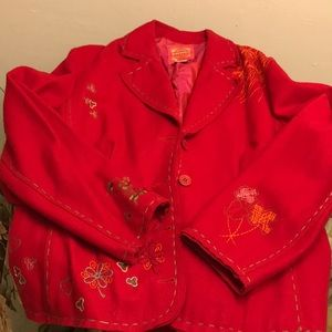 Oilily wool blend red jacket