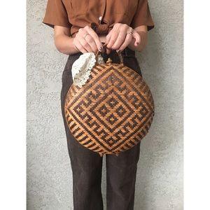 [vintage] round woven rattan basket bag
