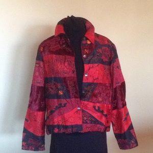 Jackets & Blazers - CHICO'S SIZE 1 SILK BLEND JACKET MULTI TEXTURED