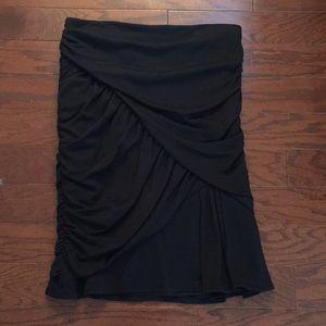 Nanette Lepore Black Gathered Fitted Skirt