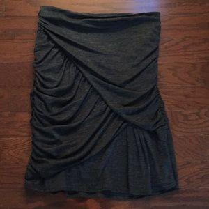 Nanette Lepore Gray Gathered Fitted Skirt