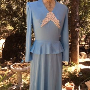 Vintage 1970 Blue Lace Victorian Style Gown 8