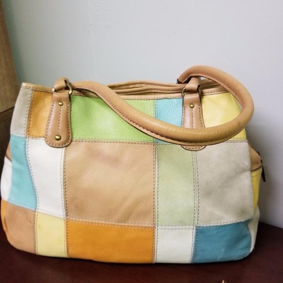 Fossil Handbags - VINTAGE FOSSIL LEATHER PATCHWORK HANDBAG WITH KEY 88ec2b6ddee20