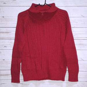 St Johns Bay Red Zippered Cable Knit Sweater