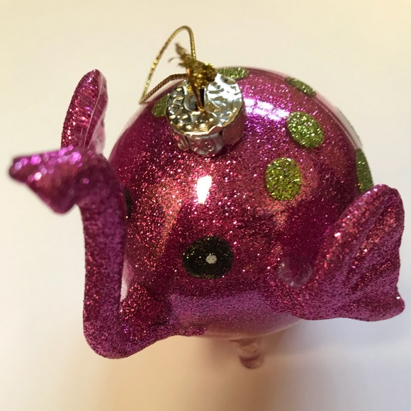 Pier 1 Christmas Ornaments.Pier 1 Blown Glass Polka Dot Sparkle Elephant