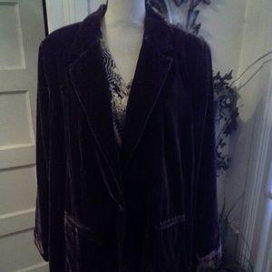 Avenue brown 1 button velvet blazer  size  26-28