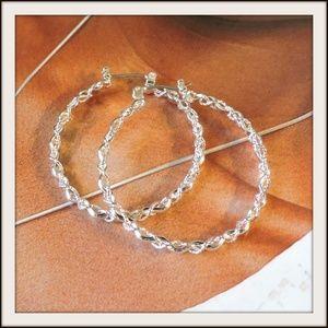 Jewelry - Silver-tone Curled Loop Earrings