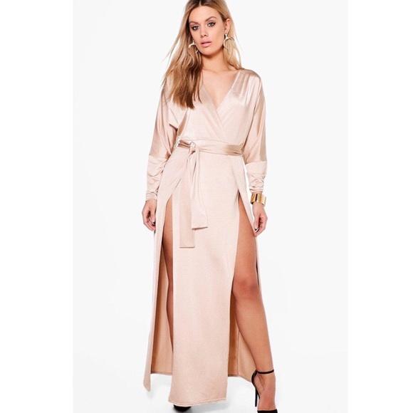 af51a89be2c1 Boohoo Plus Dresses | Plus Verity Slinky Plunge Split Maxi Dress ...