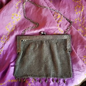 Antique mesh Chain maille bag German silver