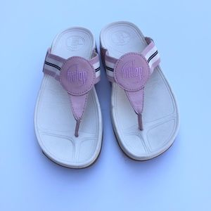 FitFlop Pink White Shoes Sandals Fit Flip Flops 5