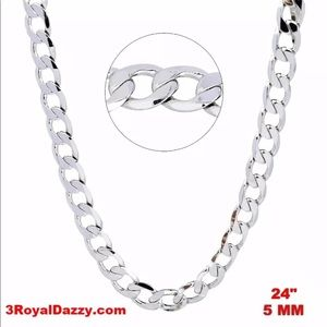 "Jewelry - New Italian 14k White gold  on 925  Chain 24"""