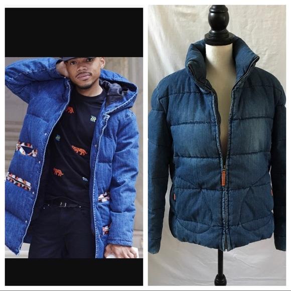 3cf5e870 Denim Puffer Guess Winter Coat Similar to Kenzo