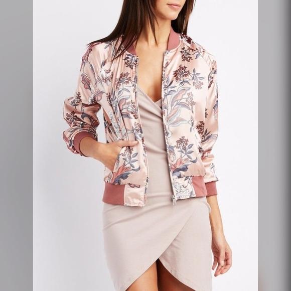 822330a331f Mauve Pink Satin Floral Bomber Jacket