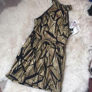 Gold metallic party dress