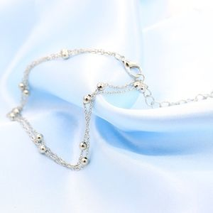 Jewelry - Silver Double Layer Beaded Ankle Bracelet Anklet
