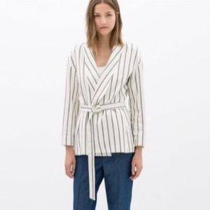 Zara Basic Striped Belted Blazer NWT size Medium