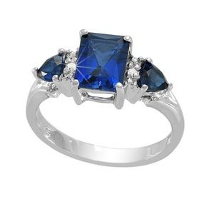 Jewelry - Sterling Silver Blue Sapphire Diamond Accent Ring