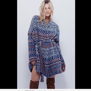 Free People Tribal Pattern Belted Sweater Coat M