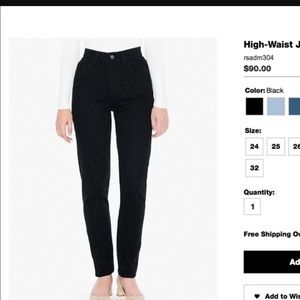 NWOT black AA high waisted denim mom jeans