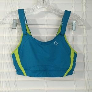 New Moving Comfort sports bra 34D blue green