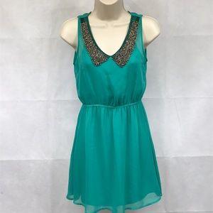 Kirra beaded collar turquoise green mini dress