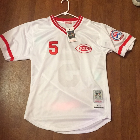 Cincinnati Reds #5 Johnny Bench 1975 White Throwback jersey
