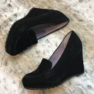 Boden Black Suede Wedge Penny Loafers Sz 36