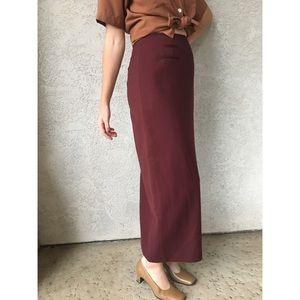 [vintage] 100% wool burgundy maxi skirt