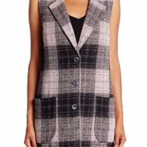 5f27fbd6ff7 14th   Union Boucle Plaid Topper Sleeveless Vest
