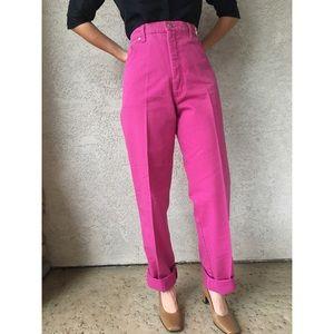 [vintage] pink ultra high waist mom jeans