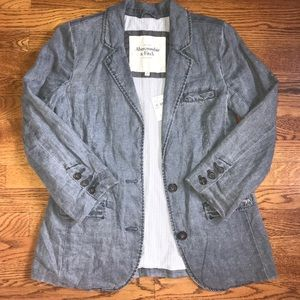 Abercrombie & Fitch Linen chambray blazer jacket S