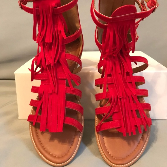 984dd81dac4 Forever Link Shoes - Red Gladiator Sandals w  Fringe Accent