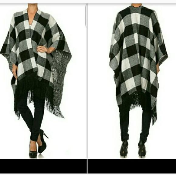 Jackets & Blazers - Black and white Plaid gingham print poncho cape