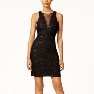 Nightway Sequened Lace Cocktail Dress