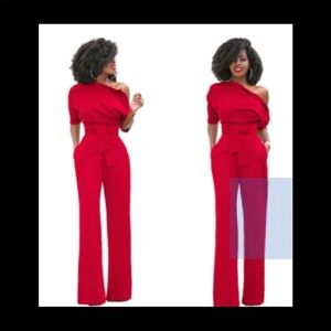 """Pants - """"Kandy"""" Belted Red Jumpsuit"""