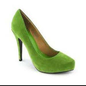 Shiekh green suede platform high heels pumps!