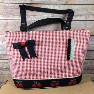 Braciano Shoulder Handbag Cherries Seersucker Bow