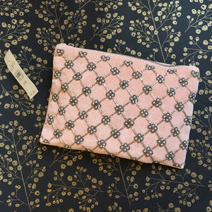 LOFT Embroidered Light Pink Suede Clutch