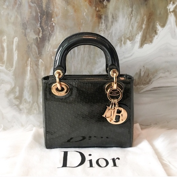 Dior Mini Lady Dior Diorissimo Patent Leather Bag