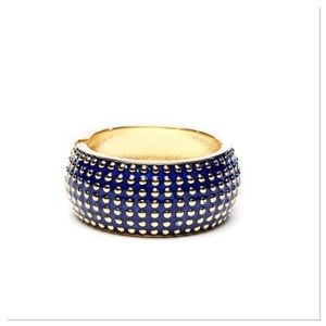 Blue & Gold Hinged Bangle
