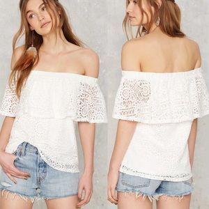 Nasty Gal In Bare Form Off the Shoulder Lace top