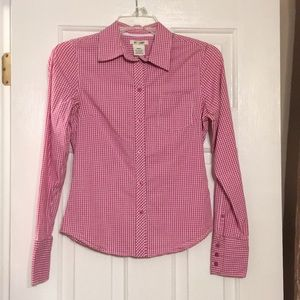 Pink and white checked classic button up