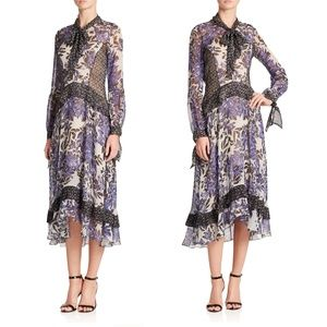<Rebecca Taylor> Gray Printed Silk Ruffle Dress