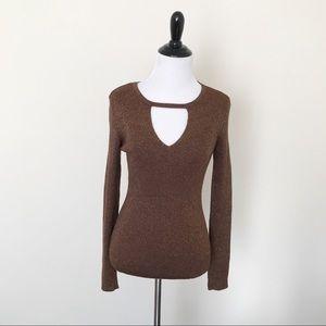 INC Bronze Ribbed Keyhole Sweater, NWT, Small