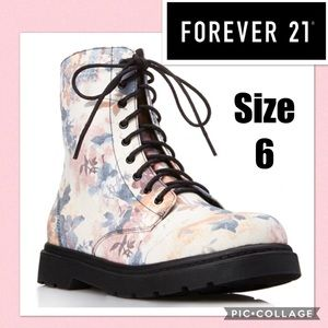 F21 Floral Frenzy Combat Boots Size 6