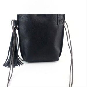 Handbags - Black Crossbody with Tassel and double strap!