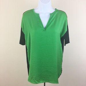 Milano Luckycharm Green Black Short Sleeve Top NWT