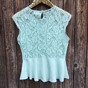 One Clothing Mint Lace Back Peplum Blouse M