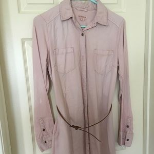 Blush pink button up dress with brown belt/pockets